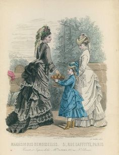 Fashion Prints from Journal Des Dames et Des Demoiselles, 1870s Fashion, Edwardian Fashion, Vintage Fashion, Vintage Gowns, Mode Vintage, Vintage Outfits, Victorian Costume, Steampunk Costume, Victorian Era