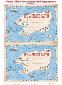 free printable pirate party invitations by b nute productions Pirate Day, Pirate Birthday, Pirate Theme, Boy Birthday, Free Birthday, Birthday Ideas, Pirate Party Invitations, Birthday Invitation Templates, Printable Invitations
