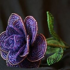 Purple French Beaded Flower