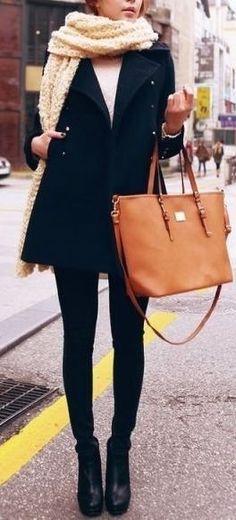 #winter #fashion / oversized scarf + coat