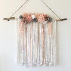 @stringsn_things   Nursery wall hanging, boho chic, tapestry, baby girl, pink, pompom hangings, wall hangings, nursery decor