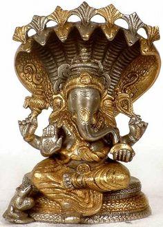 Ganesha Seated on Sheshnaga, Brass Brass Statue Elephant Face, Sculptures, Lion Sculpture, Shree Ganesh, Brass Statues, Lord Ganesha, Lord Shiva, Present Day, Black Magic