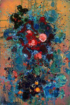 Bloeiende zonsondergang Fine-Art Print Giclee op doek door