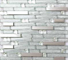 Metal glass tile backsplash stainless steel wall crystal glass mosaic diamond B903 kitchen backsplash tiles