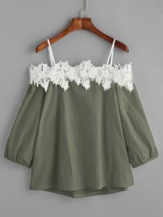 Women Blouse Shirt Lace Off-Shoulder Summer 2018 Women Pink Blue Long Sleeve Clothing Tops Casual Blouses Crop Tops Green XL Cute Girl Outfits, Girly Outfits, Stylish Outfits, Girls Fashion Clothes, Teen Fashion Outfits, Fashion Dresses, Womens Fashion, Green Lace Top, Mint Green