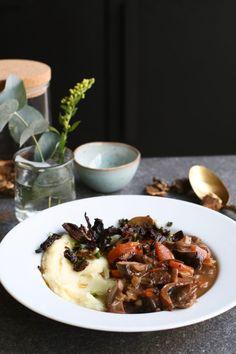 Paddestoelenstoof met pastinaakcrème, Vegetarisch avondeten, Vegetarische stoofpot, Beaufood avondeten, Gezond avondeten, Gezonde foodblogs