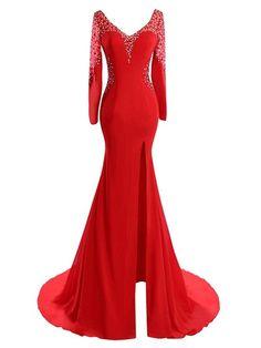 Trumpet/Mermaid V-neck Tulle Silk-like Satin Beading Sweep Train Red Long Sleeve Online Prom Dresses #UKM020102826
