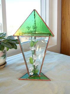 emerald stained glass terrarium