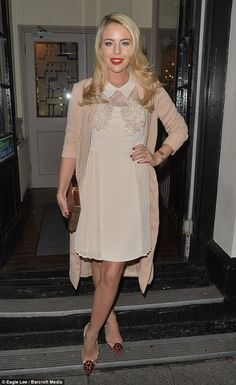 Super chic: TOWIE star Lydia Bright glammed up in a pretty cream dress for a bash at her f...