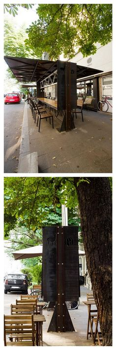 At night chairs pack inside the Origobox sidewalk café, Bucharest by Lama Arhitectura. Click image for link to full profile and visit the slowottawa.ca boards >> https://www.pinterest.com/slowottawa/