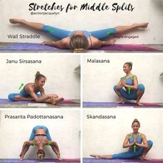 Easy Yoga Workout - Action Jacquelyn | Stretches for the Middle Splits , Follow PowerRecipes For More. Get your sexiest body ever without,crunches,cardio,or ever setting foot in a gym #stretchingforflexibility #YogaWorkouts