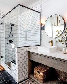 44 Marvelous Farmhouse Master Bathroom Decor Ideas and Remodel - Home Design Inspiration Bad Inspiration, Bathroom Inspiration, Cool Bathroom Ideas, Quirky Bathroom, Modern Bathroom Tile, Bathroom Inspo, Bath Ideas, Shower Ideas, Master Bath Remodel