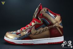 "Diversitile and 3R Customs bring back a new rendition on a previous custom Nike Dunk titled ""Metal Guy"" #customshoes #nikeshoes #ironman #ironman3 #arcreactor #marvel #superhero"