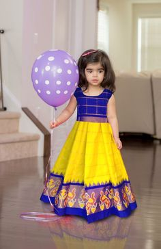 Ikkat pure silk lehenga with blouse. Age - 0 to 3 years at (PID: Ikkat pure silk lehenga with blouse. Age - 0 to 3 years. Kids Dress Wear, Kids Gown, Kids Wear, Frocks For Girls, Dresses Kids Girl, Kids Outfits, Kids Indian Wear, Kids Ethnic Wear, Baby Lehenga
