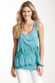 Turquoise, Embroidered Overlay Silk Blend Tank on HauteLook
