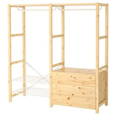 IKEA IVAR Shelving unit w shelves/rails/chest 174 x 50 x 179 cm Untreated solid wood is a durable natural material which is even more hardwearing and easy to look after if you oil or wax the surface. Metal Shelving Units, Wire Shelving, Wood Shelves, Storage Shelving, Wardrobe Furniture, Living Furniture, White Furniture, Ivar Regal, Simple Wardrobe