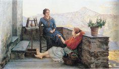 """Filadelfo Simi (Stazzema [Lu] 1849 - Firenze 1923), """"Un attimo di riposo""""."""