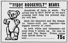 Teddy bears got their name from a story about Theodore Roosevelt and a failed bear-hunting trip. See the 1902 Washington Post cartoon that started a teddy bear craze. Bear Hunting, Names, Teddy Bear, Roosevelt, Bears, Picnic, History, School, Children