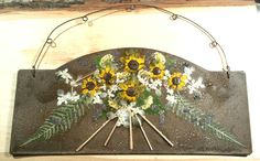 Pressed Black Eyed Susan flower bouquet on rusty tin wall plaque  $18 https://www.etsy.com/listing/487320696/real-pressed-yellow-sunflowers-black
