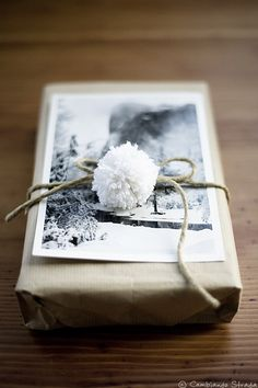 A black and white photo on a present