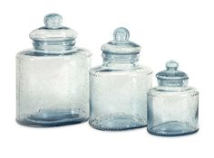 $108.00 IMAX Cyprus Glass Canister - Set of 3