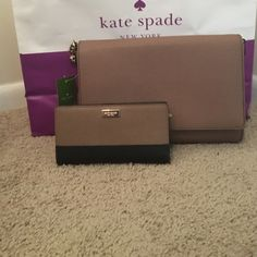 NWT Kate Spade Charlotte St. All & wallet set This is an authentic NWT Charlotte St., Alec in Dune and Newberry Ln., Stacy in the black/Dune. They have never been used and come with tags and care cards. ✨Willing to negotiate.✨. ❌ No trades! kate spade Bags Crossbody Bags