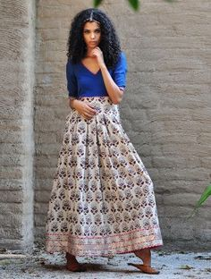 Our classic Royal blue paisley print gown is crafted in cotton fabric that is block printed using all natural dyes. It features a fitted torso and a box pl Indian Attire, Indian Ethnic Wear, Indian Outfits, Indian Clothes, Indian Style, Modern Fashion, Asian Fashion, Girl Fashion, Cotton Dresses Online