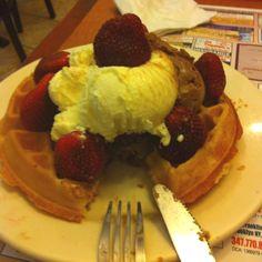 Waffle sundae with fresh strawberries :)