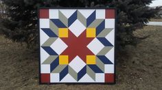 Snow Crystal Barn Quilt with frame 4'x4'