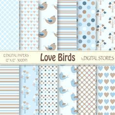 Baby Boy Digital Paper LOVE BIRDS Blue White by DigitalStories  https://www.etsy.com/listing/130235666/baby-boy-digital-paper-love-birds-blue?ref=shop_home_active_15