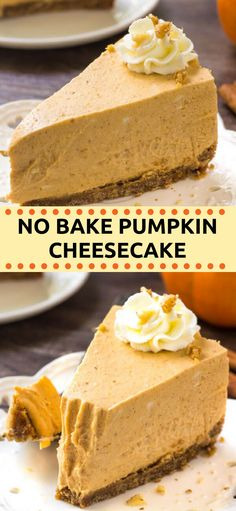 This extra creamy no bake pumpkin cheesecake has a delicious pumpkin spice flavor and cinnamon graham cracker crust. It's way easier to make than traditional cheesecake - and perfect for fall or Thanksgiving! Desserts No Bake Pumpkin Cheesecake Desserts Nutella, Holiday Desserts, No Bake Desserts, Just Desserts, Dessert Recipes, Delicious Desserts, Cinnamon Desserts, Recipes Dinner, Cinnamon Pie