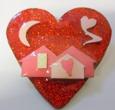 Vintage+House+Pins+by+Lucinda+Valentine's+Day+Decorate+Glitter+Moon+Heart+LOVE+