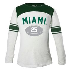Miami Hurricanes Girls Youth Long Sleeve Stripe Football T-Shirt - White/Green