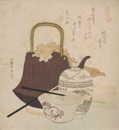 Tetsubin et céramique de Soma yaki - Hokusai En ce qui concerne la céramique et le thé, ces deux éléments sont abordés de façon secondaire dans l'œuvre de Hokusai, comme élément de décor dans ses scènes réalistes et en particulier dans ses scènes d'intérieurs. La céramique et le thé faisant partie de l'environnement quotidien. Il y a cependant quelques exceptions notables où la céramique et le thé deviennent un sujet à part entière (estampe sur La céramique de Soma de la série Suite de…