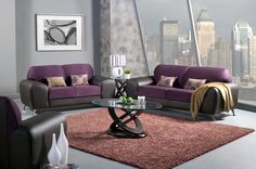 3 Pc. Avdira Contemporary Style 2 Toned Grape Suede and Espresso Leatherette Sofa Set