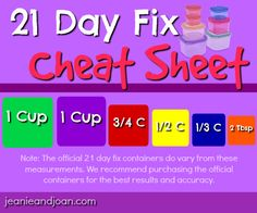 21 day fix container measurements and sizes cheat sheet