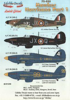 Lifelike Decals 72025 Hawker Hurricane Part 1 Decal First Look Navy Aircraft, Ww2 Aircraft, Fighter Aircraft, Military Aircraft, Hurricane Plane, Hawker Hurricane, Air Fighter, Airplane Art, Ww2 Planes