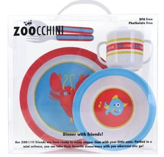 """Zoochini 5 Piece Whimsical Dinnerware Set (Ocean) ZOOCCHINI 5 piece dinnerware sets bring the whimsical Safari, Barnyard and Ocean lines to the table with your toddler. All sets feature original characters and come in a clear travel case with plate, bowl, fork, spoon and sippy cup with lid. 5 piece set. BPA and Phthalate FREE. Clear plastic travel package. Measures approx. 11.5"""" x 10.5"""" x 3"""". Kids love this product, and moms and dads love the way it bounces off the floor and cleans up in a…"""