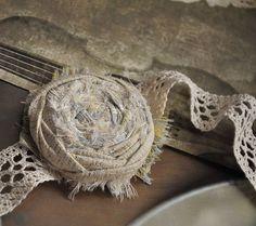 """Текстильный браслет """"Тихий лён"""" - браслет,лён,кремовый,эко,бохо,шебби шик"""