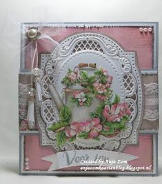 Handmade card by DT member Anja with Creatables Tassel Deco (LR0389), Anja's Oval (LR0376) and Collectables Banners XL (COL1398) from Marianne Design