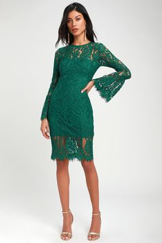 You'll be as captivating as can be in the Lulus Enrapturing Elegance Green Lace Long Sleeve Midi Dress! Long sleeve midi dress shaped by eyelash lace. Green Sequin Dress, Green Lace Dresses, Green Dress, Long Sleeve Midi Dress, Lace Midi Dress, Green Occasion Dresses, Eccentric Style, Emerald Dresses, Casual Dresses For Teens