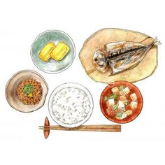 Japanese Dishes, Japanese Food, Watercolor Art Lessons, Watercolor Food, Longevity Diet, Chinese Picture, Food Texture, Food Sketch, Food Stickers