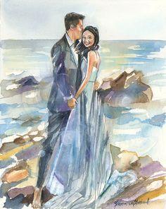 Custom Paper Anniversary Wedding Portrait: by SimplyArtByKristin
