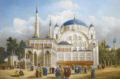 Nusretiye Mosque I Camii, Tophane, Istanbul, Century. European Paintings, Old Paintings, Vintage Paintings, Royal Pavilion, Istanbul City, Famous Architects, Turkish Art, Ottoman Empire, Ancient Art