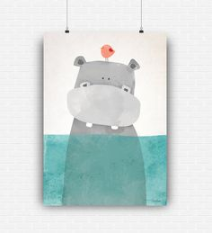 Beautiful illustration art with cute hippo in the sea. High quality poster design for wall decoration. Digital print for instant download. by GraphicCorner on Etsy