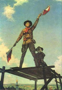 Scouting is more than games - 1918. Painted for the American Red Cross shows a scout with semaphore skills.