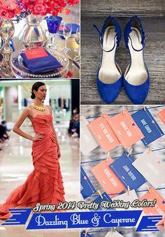 Elegant Spring Wedding Color Ideas and Inspiration for 2014: Dazzling Blue and Cayenne Color Palette. #weddingthemes #weddingideas