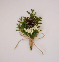Pine cone boutonniere, Pine cone Buttonhole ,Woodland boutonniere, Rustic boutonniere, Forest wedding, Thuja, Natural boutonniere, Groomsmen