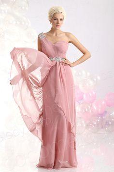 Sheath Column One Shoulder Floor Length Chiffon Pink Evening Dress COZF13013