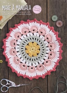 Loopy Mandala Crochet Pattern by Mobiusgirl Design. Materials: Larger mandala: Drops Paris, a worsted weight cotton, and a hook. The smaller version is made with Drops Safran, a fingering weight cotton, and a hook. Pattern More Patterns Like This! Motif Mandala Crochet, Crochet Circles, Crochet Motifs, Crochet Squares, Crochet Doilies, Crochet Flowers, Crochet Stitches, Crochet Patterns, Granny Squares